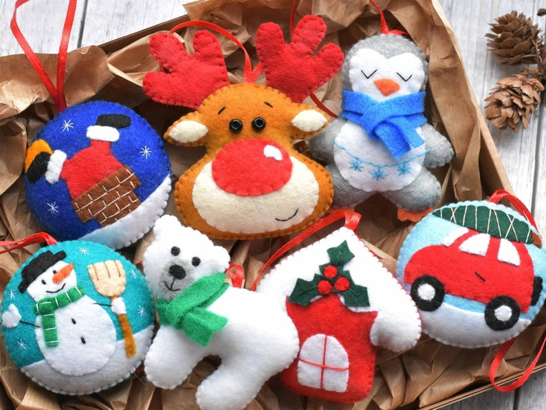 Felt Christmas Ornaments.Felt Christmas Ornaments Set Christmas Decoration Set Of 7 Christmas Felt Ornaments Christmas Tree Decoration