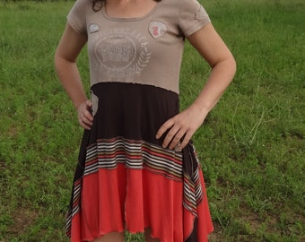 Large Brown, coral and multicolored striped tunic dress