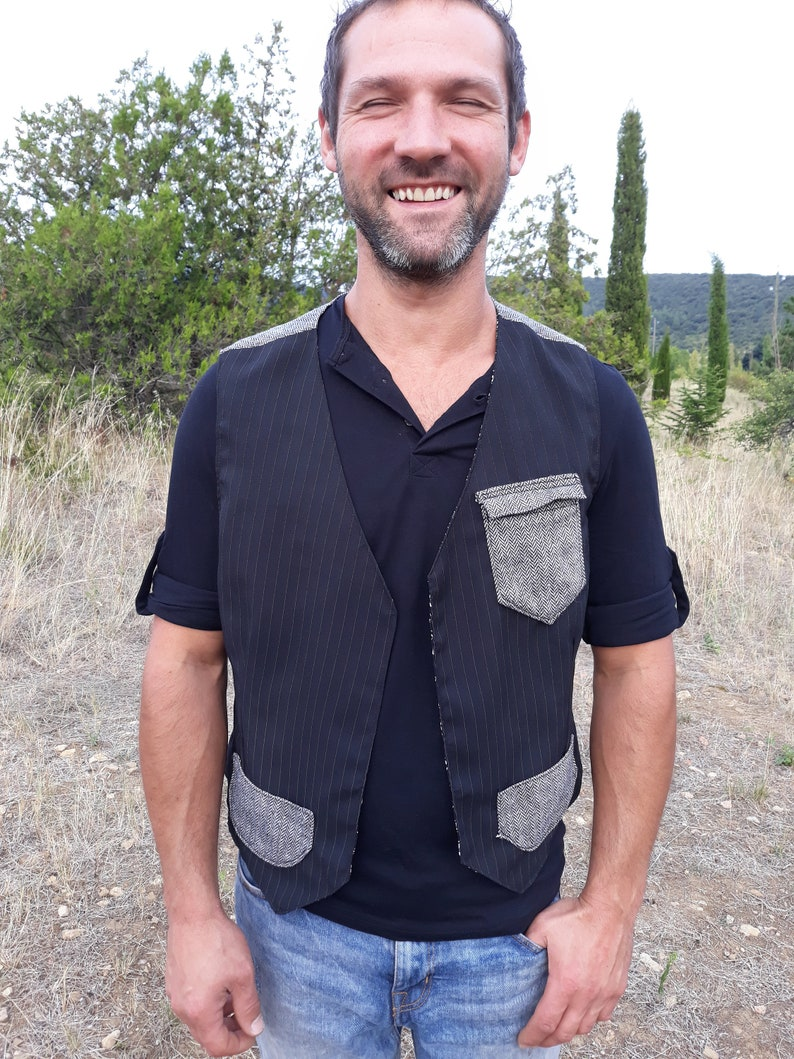 Upcycled Man Vest Polyesther Tweed M Hipster SUzVMGqp
