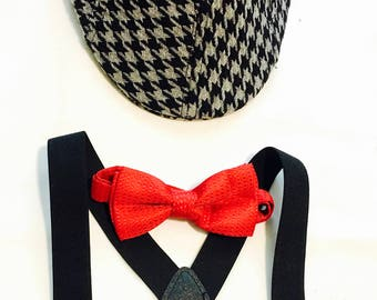Cheap Suspender set Grey and Black Houndstooth Cheap Newsboy Hat set Gray and black Red bowtie set for Baby and Toddler