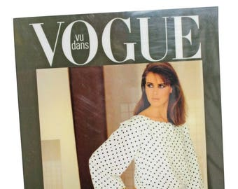 Vintage Vogue Print with Stand / Limited Edition / Model In Polka Dot Print Vintage Dress / 1990s / 90s / Supermodel / Fashion Poster /