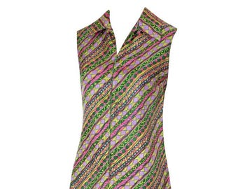 60s Prisu Sleeveless Shirt Dress / 1960s Graphic Print Short Dress / Lime Green Pink Purple