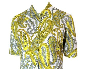 b3fa8edfa89 1970s Handmade Mustard Floral Print Blouse / White and Yellow / 70s