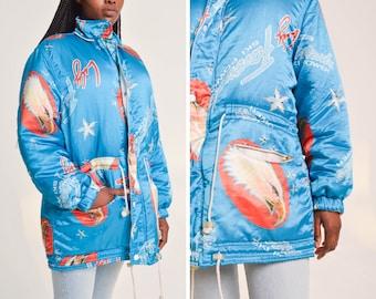 523dedd43dd7 Vintage 80s Lily Farouche Jacket   Ski Power   Turquoise Eagle Print    Shell Jacket   Silky Jacket   1980s   Size M   Medium