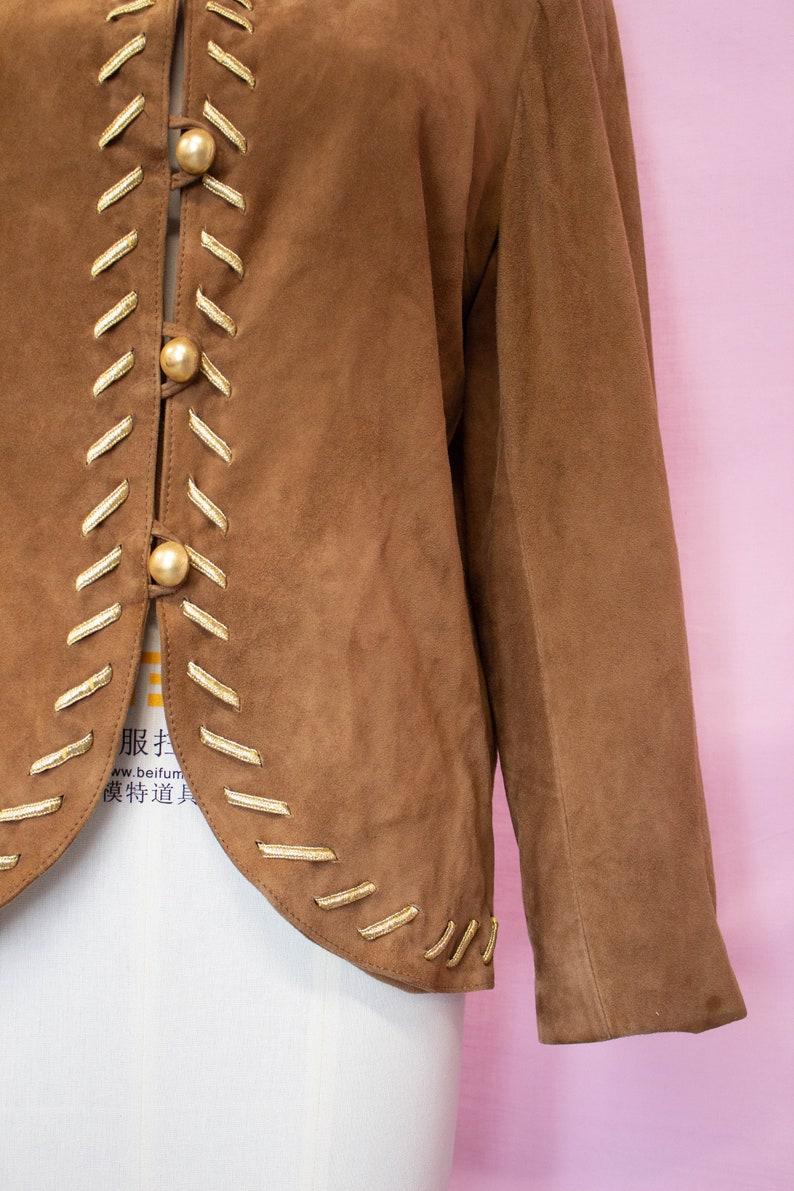 Vintage Bruno Magli Suede Jacket  Brown Suede  Gold Detail  Size