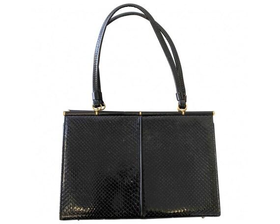 Vintage Black Snakeskin Bag / Top Handle Bag / Cla