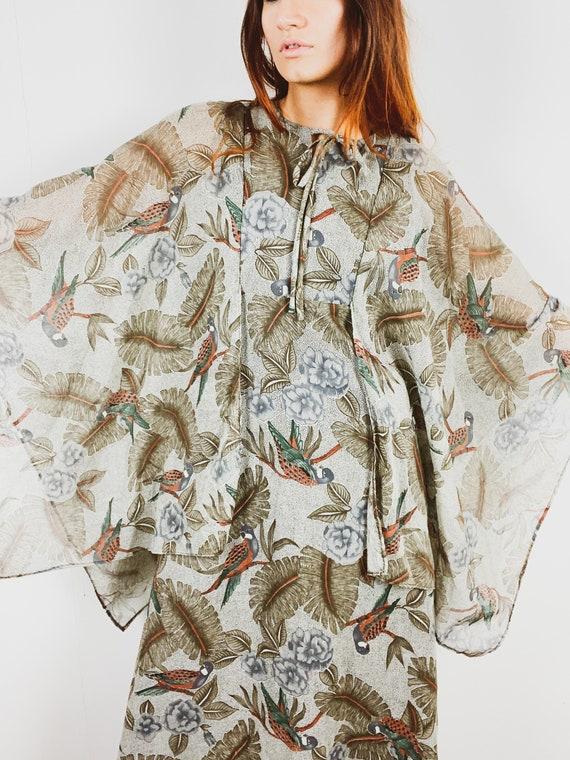 Vintage Marion Donaldson Dress / Bird Print / Ange