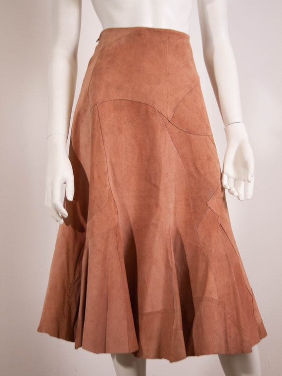Vintage Valentino Suede Skirt / A-Line / 70s / 197