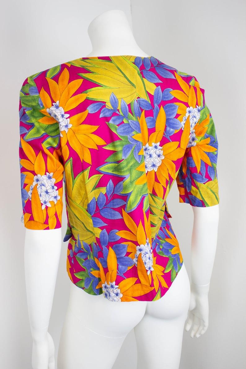 Vintage Floral Print Jacket  Tropical Flower Print  Lightweight Summer Jacket  1980s  80s  Size 12  EU 40  Medium