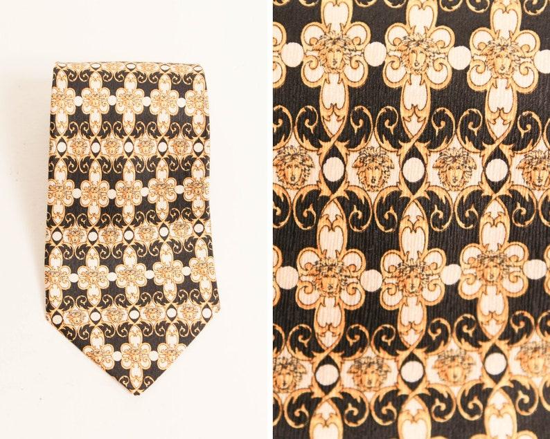 d5fe611ca9 Vintage 80s Gianni Versace Tie   Italian Silk Necktie   Gold