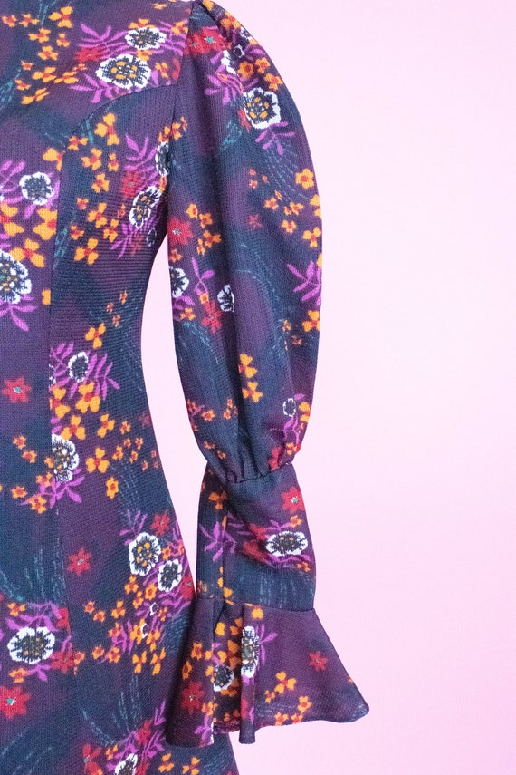 Vintage Floral Mini Dress / Leg of Mutton Sleeves… - image 7