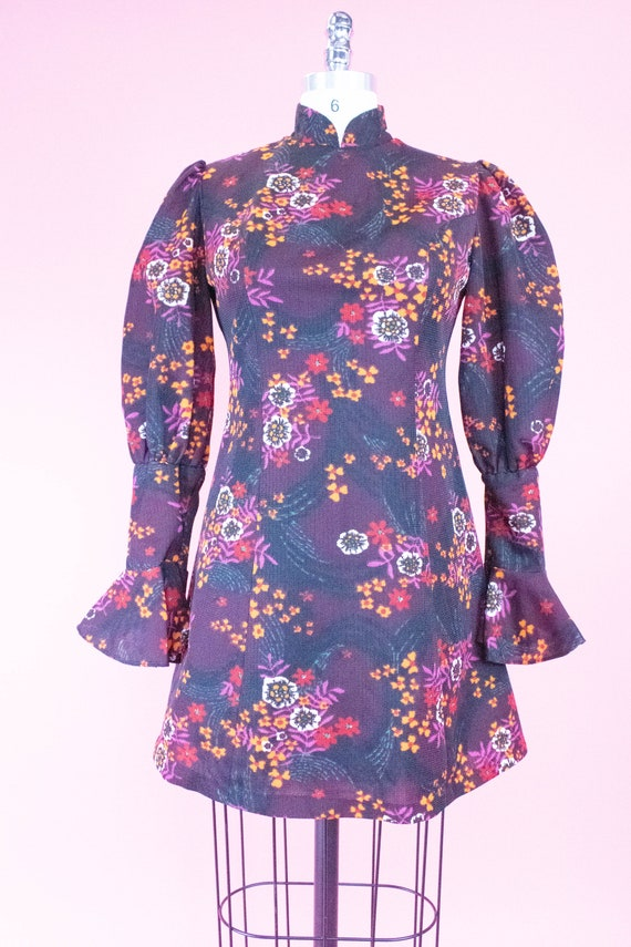 Vintage Floral Mini Dress / Leg of Mutton Sleeves… - image 4