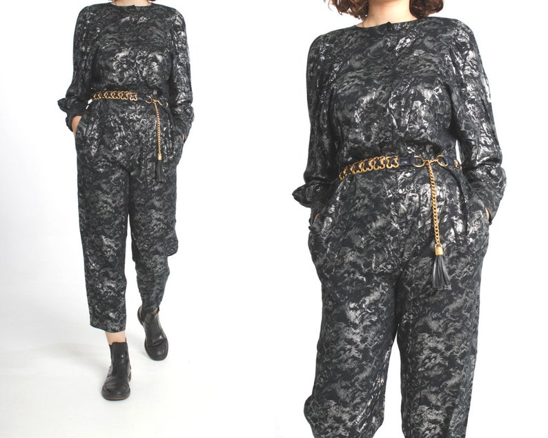42c62cb45abef Vintage 80s Metallic Jumpsuit   Batwing   Black and Silver