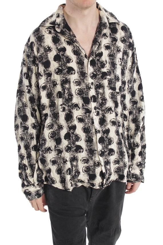 ... Abstrait des années 90 d impression chemise     chemise gris blanc noir  Loose Fit ... 80d9ad3869e