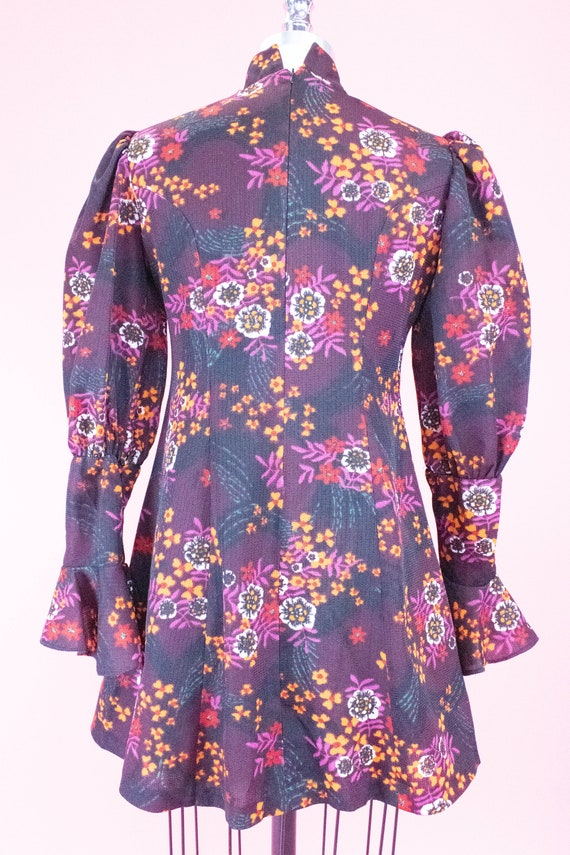 Vintage Floral Mini Dress / Leg of Mutton Sleeves… - image 8