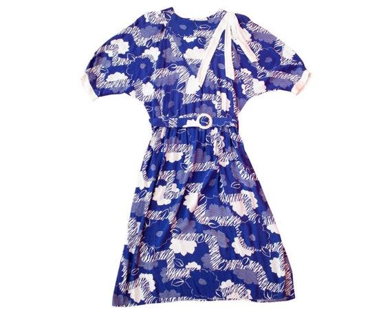Vintage Blue Floral Dress / Graphic Print / Half S