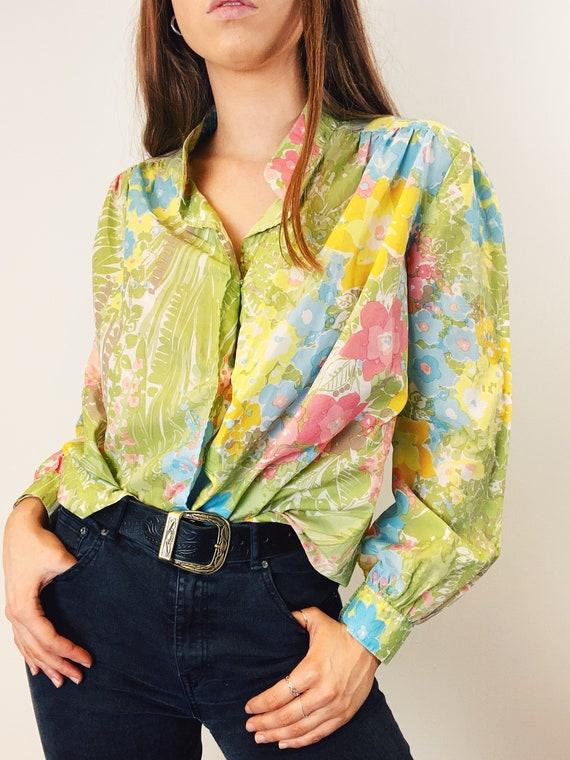 Size 18 Plus Size Vintage Pastel Floral Print Blouse