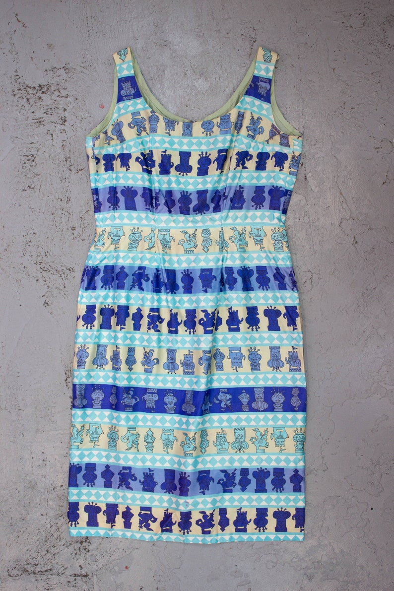 Vintage 50s Chess Print Dress  Blue  Novelty Print  1950s  Size 14  EU 42  Plus Size  Mini Dress