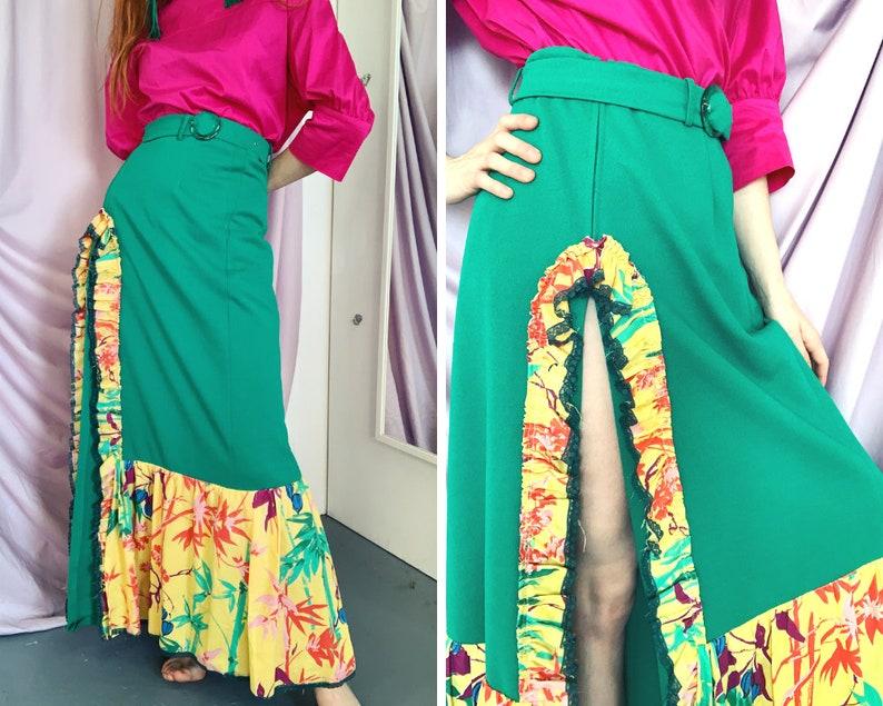 d69264690fbf0 Vintage 60s Maxi Skirt   Thigh Split   Handmade   Ruffle