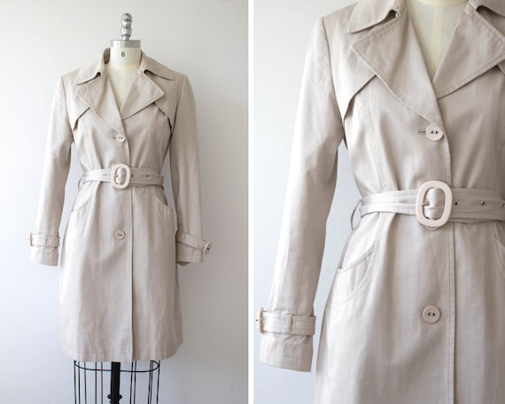 Vintage David Barry Trench Coat / 80s / Beige 3/4 Length Cotton Trench / 1980s / 60s Style Details by Etsy