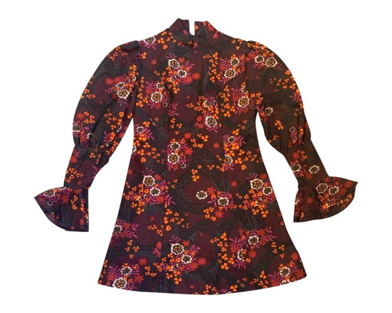 Vintage Floral Mini Dress / Leg of Mutton Sleeves… - image 1