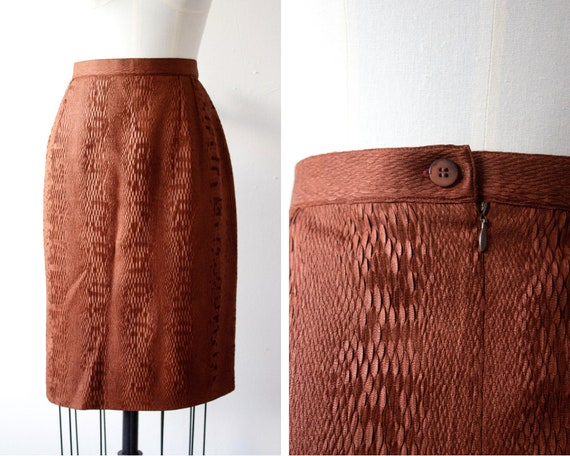 Vintage Olivier Strelli Pencil Skirt  Textured Snakeskin Fabric  Fitted Skirt  Bronze Brown  Plus Size  Outsize  Size 16  44