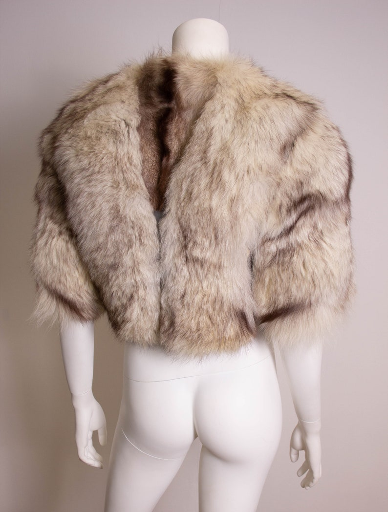 Vintage Cropped Fur Jacket  1970s  70s  Fox Fur  Leather  White  Size 12  EU 40  Medium