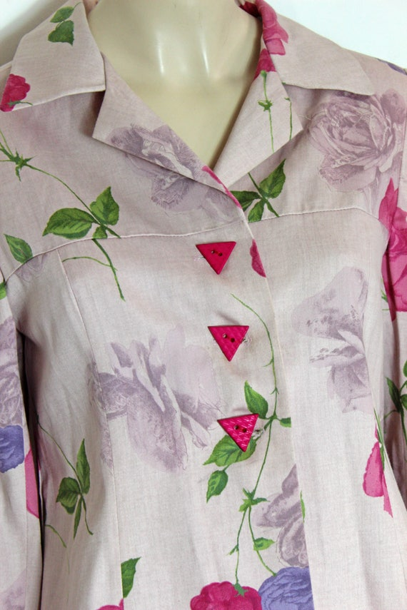 80s Pale Pink Jacket  Floral Print  Baby Pink  Cotton Jacket  Statement Geometric Buttons  1980s  Flower Print  Size S
