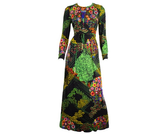 Vintage Floral Print Maxi Dress / Fitted / Long Sl