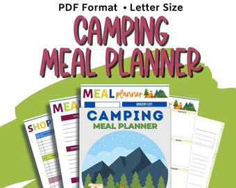 Camping Meal Planner, Camping Checklist, Family Camping Trip, Printable Meal Planner, Camping Organizer, Meal Organizer, Shopping List