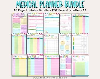 Printable Medical Binder  Health Care Planner   Health Care Organizer   Wellness Planner   Medical Planner   Blood Pressure Tracker