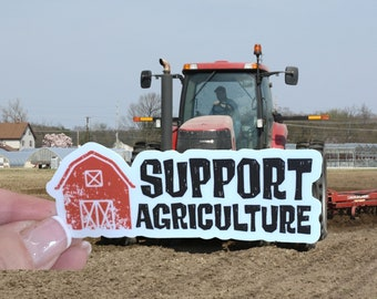 Support Agriculture Vinyl Sticker   Support Your Local Farmer Sticker For Car Window, Bumper, Water Bottle or Laptop   Mini Sticker