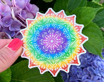 Rainbow Mandala Sticker, Laptop Sticker, Vinyl Sticker, Handmade, Water Bottle Stickers, For Laptops, Journals, VSCO Sticker