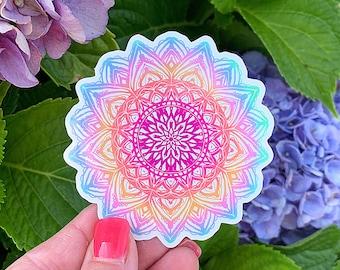 Pastel Rainbow Mandala Sticker, Laptop Sticker, Vinyl Sticker, Handmade, Water Bottle Stickers, For Laptops, Journals, VSCO Sticker