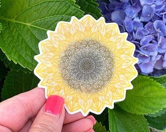 Sunflower Mandala Sticker - Sunflower Sticker, Laptop Sticker, Water Bottle Sticker, Vinyl Sticker, Glossy Vinyl, Hand Drawn Mandala