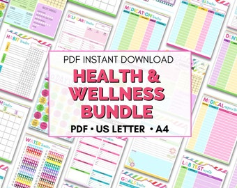 Health & Wellness Bundle   Printable Medical Planner  Health Care Binder   Wellness Planner   Fitness Planner   Blood Pressure Tracker