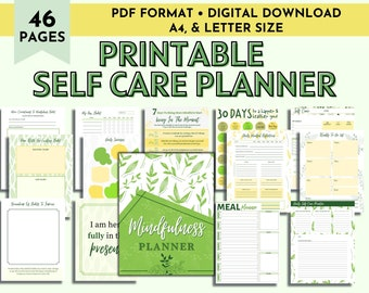 Self Care Planner, Mindfulness Planner, Self Care Journal, Wellness Planner, Mental Health Journal, Meditation Tracker, Wellness Workbook