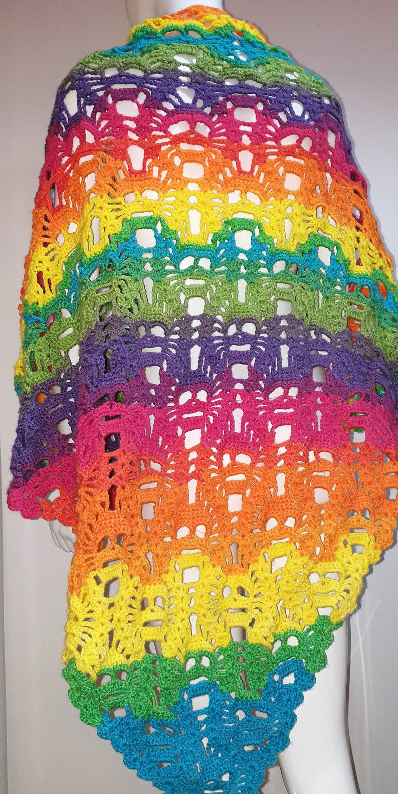 handmade multi coloured lost souls shawl