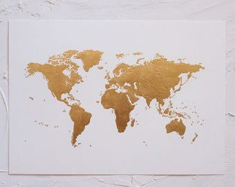 Gold leaf map etsy original luxe gold leaf world map artwork a3 world art gold leaf gumiabroncs Choice Image