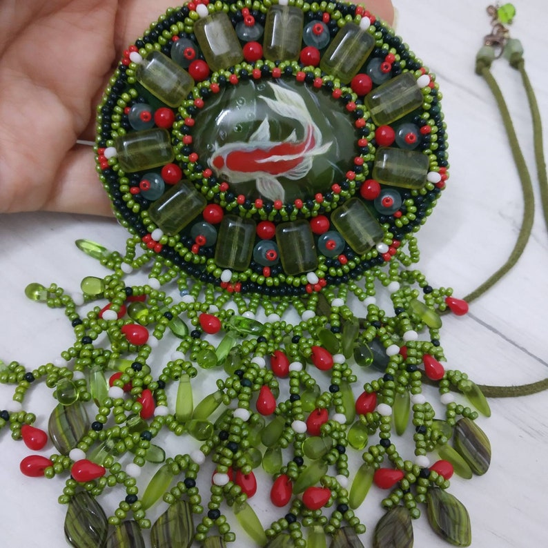 miniature painted stone pendant Fish necklace beads jewelry fish pendant hand painting necklace light green necklace embroidery jewelry