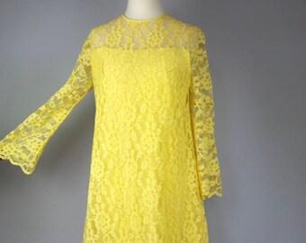 Vintage 60s A-Line Mini Dress - Sunshine Yellow Bell Sleeve Dress