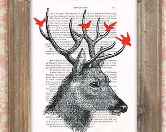 Deer with birds, deer drawing, deer print, deer painting, Merry Everything,Happy Always,Joy Peace and Love, deer illustration