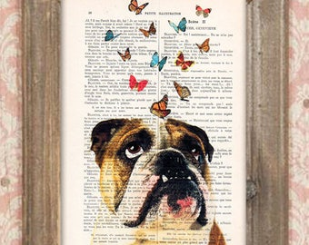 English bulldog Print, Bulldog with butterflies, French design, black and white,bulldog poster Art Print on recycled french book page