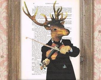 Music deer, deer with violon, classical deer, symphony deer, symphony music, deer illustration, antlers, stags, deer artprint