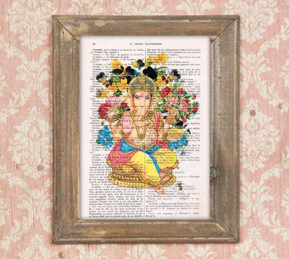 Dictionary Art Print Printed On Authentic Vintage Dictionary Book Page Ganesh