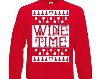 c128a3841151 Wine Time Sweatshirt | Christmas Jumper | Cute Christmas Adult Unisex  JumperChristmas Gift. LulahBluGifts. 4.5 out of ...