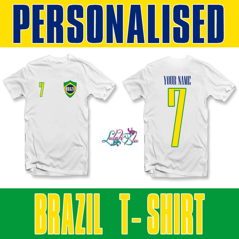 c16478950e05c Kids Personalised Brazil 2019 T-Shirt   Personalised World Cup Football  TopChristmas Gift Personalized