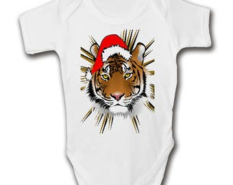 Tiger Christmas Baby Grow | Cool Newborn Gift