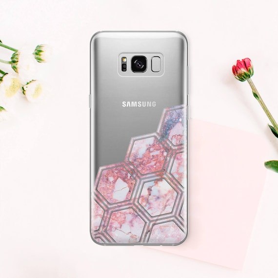 Cas pour S5 Samsung Téléphone Transparent S6 Galaxy s'adapte à Samsung étui clair Galaxy téléphone cas S6 bord géométrique téléphone S7 Galaxy housse CA1003