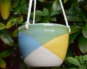 Hanging handmade ceramic succulent pot with drainage-Hanging Air Plant planter - indoor outdoor pot- half dipped planter -yellow X turquoise